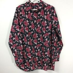 Lands End Floral Tunic Blouse No Iron Supima 16T